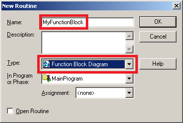 Controllogix function block diagram creation and operation next we must name the routine myfunctionblock be sure to select function block diagram as the type then press ok ccuart Choice Image
