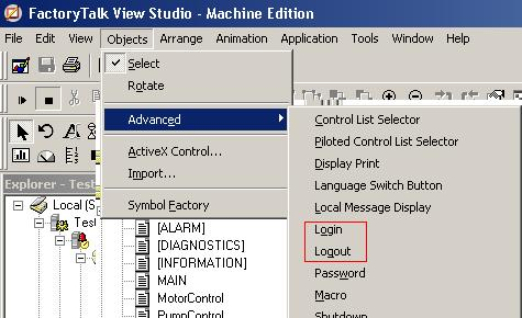 Configuring FactoryTalk Security, and adding the Login and