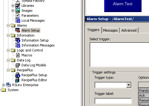How to setup triggers and alarm messages in FactoryTalk View ME